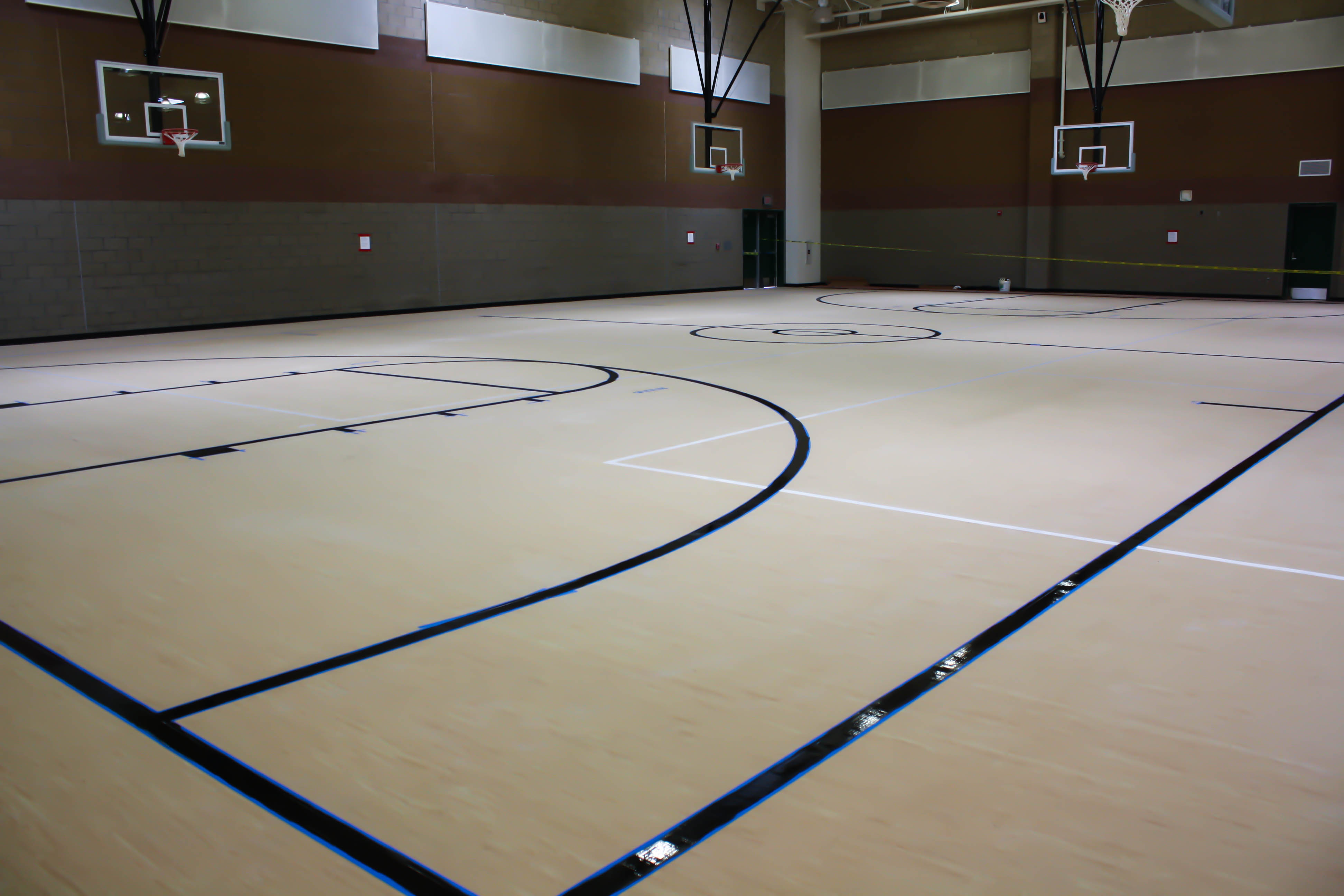 floor almost done gym october opening grand bleachers new and beginning news painting